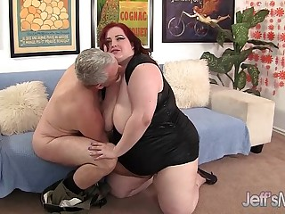 Fat Redhead Gobbles a Guy's Pecker and Gets Fucked Hard