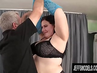 Brunette Plumper Becki Butterfly Seduces an Older Guy with Her Fat Body