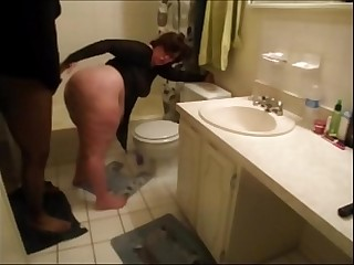 Fat White Girl Fucked in the Bathroom
