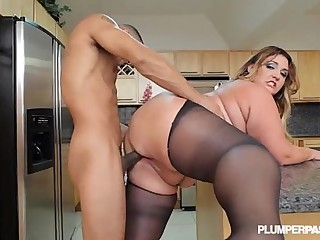 Big Booty Latina BBW Wears Stocking and Fucks in Kitchen