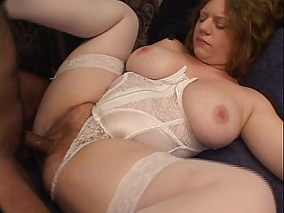Hairy brunette BBW takes black cock