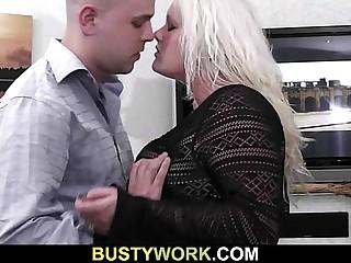 Gorgeous BBW blonde gets doggystyled