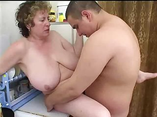 Mature Russian seduces fat boy
