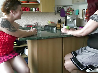 Legal Age Teenager lesbo stick toy to old granny love tunnel