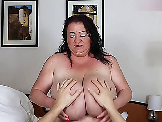 Playing with large boobs