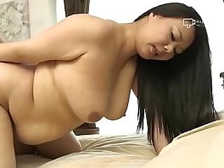 Asian BBW Kyoko Ikenaga Sucks Dick and Gets a Creampie