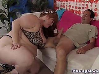 SSBBW plumper spoon fucked after blowjob