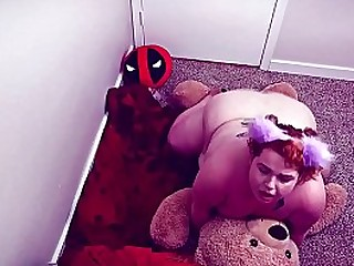 fat chubby little bbw humps her stuffed teddy with binky -SHORT VERSION-