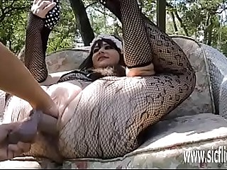 Stuffing her greedy pussy with a huge fist and dildo